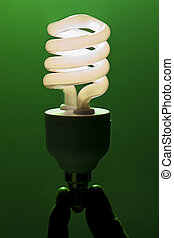 Energy efficient light bulb being held with two fingers