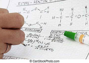 Chemistry Formula writing in engineering notes with chemical...