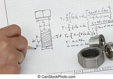 Anchor bolt design sketch and engineering calculation.