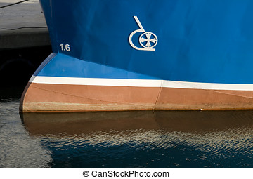 Ship with Bulbous Bow - Blue Vessel with bulbous bow. Shot...
