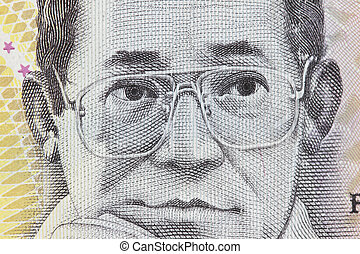 Ninoy Aquino of 500 Philippine peso - Macro photo of Ninoy...