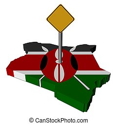 warning sign on Kenya map flag