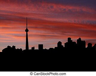 Toronto skyline at sunset with beautiful sky illustration