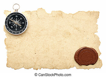 seal wax and compass on old paper background