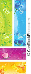 Banners with swirl multicolored design and roses