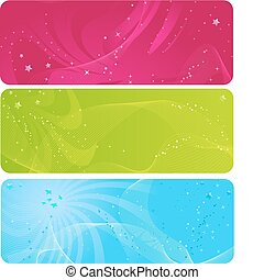 Colorful abstract banners with stars - Colorful abstract...