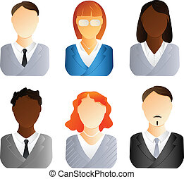 Business people icons - Set of business people icons. Men...