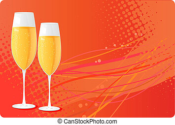 Two champagne glass on halftone background