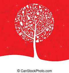 Musical tree2 - Musical tree on a red background. A vector...