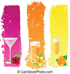 Grunge banners with drinks and flowers