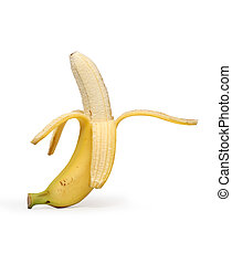Peeled Banana - Banana peeled isolated on white background...