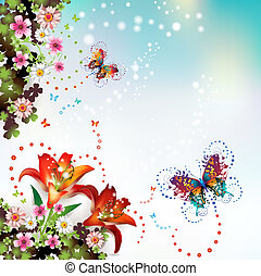 Background with flowers and butterflies