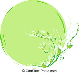 Floral round green frame with leaves - Nature floral round...
