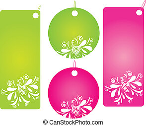Set of four floral shopping labels