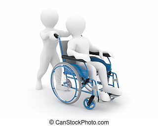 Men on wheelchair on white isolated background 3d