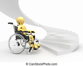 Men with wheelchair and stairs. Difficult decision. 3d