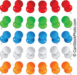 Vector push pins - Set of colorful vector push pins