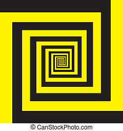 Hypnotic spiral in yellow and black
