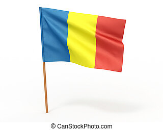 flag fluttering in the wind. Chad. 3d