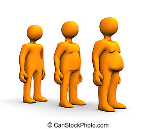 Overweight - Orange fat cartoon on scale, isolated on white