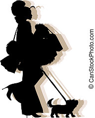 african american shopping girl silhouette