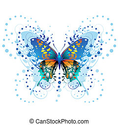 Stylized butterfly with twigs curls isolated on white...
