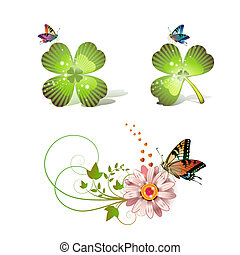 Flowers arrangement and clover with butterflies