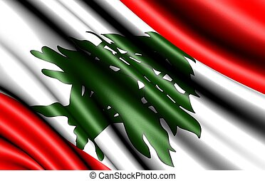 Flag of Lebanon. Close up.