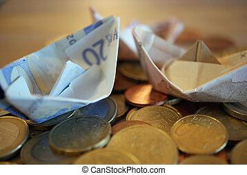 Boats made from Euro bills