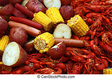 Boiled crawfish with corn, potatoes and hot dogs