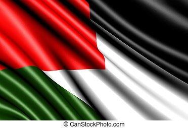 Flag of Palestine. Close up.