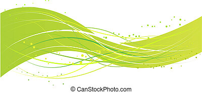 Abstract green wave design - Green abstract wave design with...