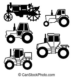 vector tractor set on white background
