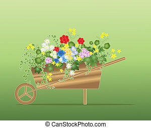 floral wheelbarrow - an illustration of a wooden wheelbarrow...