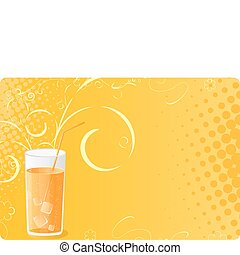 Halftone banner with juice glass and swirl design