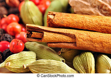 Spices background - Food background: variety of whole spices...