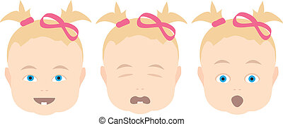 baby girl with various face expressions