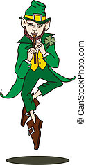 Flute-Playing Leprechaun Silo - Vector art in Illustrator 8...