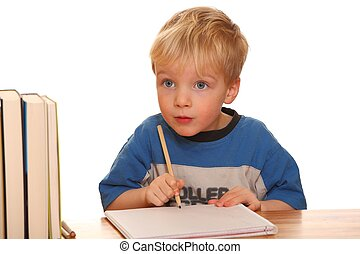 Young toddler with pen