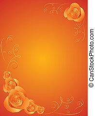 Design template with roses - Orange desigm template with...