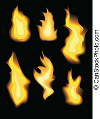 Set of realistic vector fire flames on black background