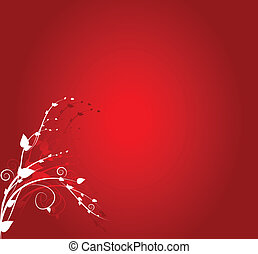 Floral ornament on red background
