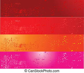 Four grunge banners - Grunge banners in red, pink and orange...