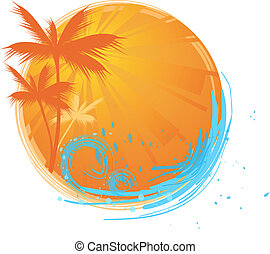 Palms round banner - Round banner with palms and oceans wave...