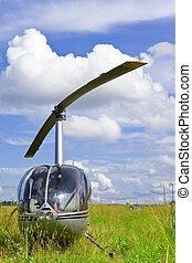 helicóptero, campo, solar, día