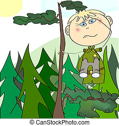 Boy scout climbed the tree with binoculars and looks into...