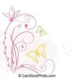 abstract backdrop with butterflies