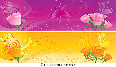 Banners with swirl ornament and roses