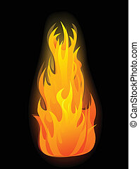 Vector fire flames - Vector glowing fire flame on black...