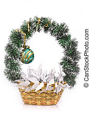 Decorative New Year's basket with fur-tree ball of 50 years